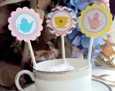 Tea Party Cupcake Toppers , Cupcake toppers