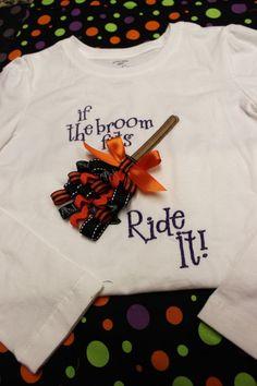 If the Broom Fits...Applique Ribbon Shirt. $16.50, via Etsy.
