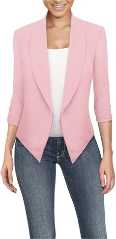 HyBrid Womens Casual Work Office Open Front Cardigan Blazer Jacket Made in USA HyBrid Womens Casual Work Office Open Front Cardigan Blazer Jacket Made in USA T Shirt Yarn, T Shirt Diy, Denim Shirt, Cardigan Blazer, Blazer Jacket, Blazer Dress, Matching Couple Shirts, Vetement Fashion, Cut Shirts