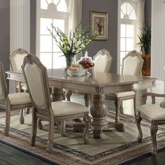 Chateau de Ville Dining Table (Antique White) - All For House İdeas Round Dinning Room Table, Double Pedestal Dining Table, Dining Room Chairs, Dining Room Furniture, Acme Furniture, Antique Furniture, Dining Sets, Furniture Online, Garden Furniture