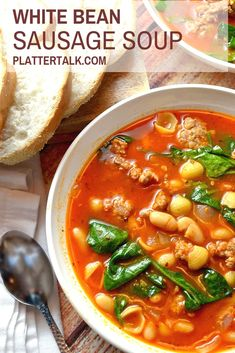 This Easy Recipe For A Homemade Soup From Platter Talk Is Made With Beans And With Sausage For A Simple But Satisfying Cold-Weather Meal. Attempt This Simple Supper Recipe This Fall Season And Beyond Easy Appetizer Recipes, Supper Recipes, Healthy Soup Recipes, Easy Recipes, Italian Appetizers, Uk Recipes, Potato Recipes, Crockpot Recipes, Salad Recipes