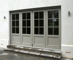 Wooden bifold doors painted Farrow & Ball Hardwick White - March 02 2019 at Roof Lantern, House, Timber Roof, House Exterior, Sliding Doors Interior, French Doors Exterior, Wooden Bifold Doors, Exterior Doors, Sliding Doors Exterior