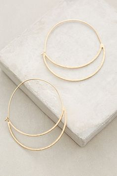 Crescent Moon Hoops Love the shape and size and rustic gold. I need a new pair of everday hoops