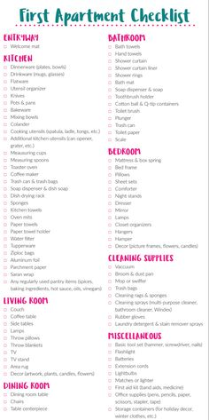 New Apartment Checklist, First Apartment Checklist, First Apartment Essentials, My First Apartment, First Apartment Decorating, Studio Decorating, Apartment Needs, Apartment Hacks, Design Apartment