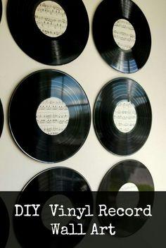 Vintage record wall art