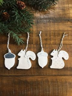 Squirrel and Acorn White Ornaments Set, Modern Holiday decor, Nordic Christmas Decor, Ceramic Ornaments, Ready to Ship