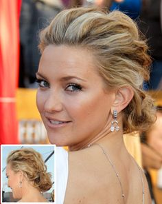 Texture was big news on the spring/summer 2010 catwalks with matte bed-head hair appearing in plaits and knots. Kate interprets this look for the red carpet with a highly textured messy updo that looks like it was simply raked together with fingers.