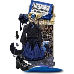 EGL Lolita by beeyuzu on Polyvore featuring LK Designs, Blue, gothic, lolita and moitie