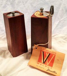 Vermillion American Black Walnut Pepper Mill and Salt Shaker by LELVintage on Etsy https://www.etsy.com/listing/233638653/vermillion-american-black-walnut-pepper