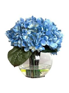 "Blue Hydrangea In Water at MYHABIT Life-like floral arrangement in faux water and elegant glass vase Country of origin: United States Material type: Glass, Manmade Material Item Dimensions: height 9"", width 9"", depth 9"""