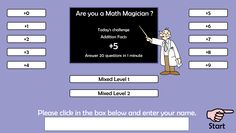 Addition Facts Web Games
