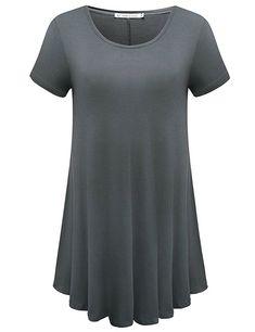 328e5763 JollieLovin Women's Short Sleeve Loose Fit Flare Hem T Shirt Tunic Top  (Army Green,