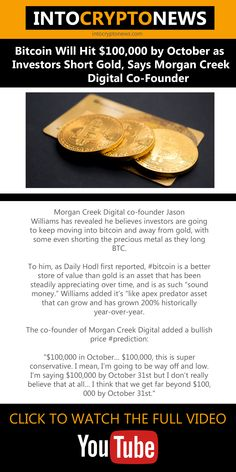 Morgan Creek Digital co-founder Jason Williams has revealed he believes #investors are going to keep moving into bitcoin and away from #gold, with some even shorting the precious metal as they long #Bitcoin. Jason Williams, Cryptocurrency News, Co Founder, Investors, October, Digital, Metal, Gold, Metals
