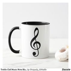 Click to buy this cool Treble Clef Music Note Black & White Cool Musician Mug.  Perfect gift for him for Father's Day, Birthday, Christmas or just because.