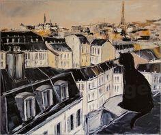 Poster Schwarze Katze über den Dächern von Paris