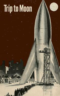Trip to Moon - Rocket Ship / Retro Future / Space Ship