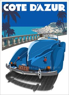 This art deco poster features the beautiful 1936 Auburn 8 Speedster cruising the French Riviera.  #Auburn #CoteDazur #FrenchRiviera #TravelPoster #ArtDecoPoster Auburn8Speedster Art Deco Illustration, Art Deco Posters, Poster Ads, Hawaii Beach, Oahu Hawaii, Automotive Art, French Riviera, Vintage Travel Posters, Mexico Travel