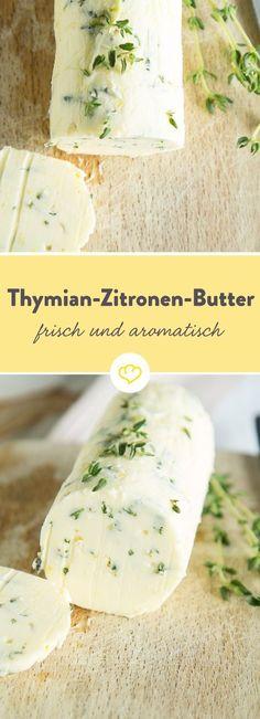 Wenn das Leben dir Zitronen gibt, vergiss die Limonade und schnapp dir stattdessen einen Bund frischen Thymian und etwas Butter. Heraus kommt ein Mix, der besonders lecker zu gegrilltem Fisch oder zarten Scaloppine schmeckt.