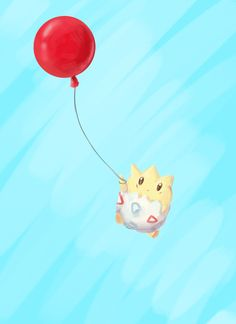 Togepi flying with a balloon. #redballoon #togepi #cute #pokemon #painting