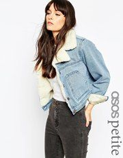 ASOS Petite | ASOS PETITE Denim Jacket with Fleece Lining and Collar at ASOS
