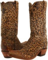 "Leopard Cowboy Boots  Angiola - 11""Old Tan Leopard Print w/ Wingtip by Lucchese Diva"