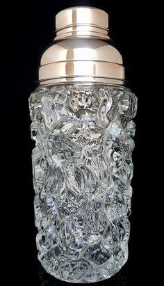 BUY on ETSY: Vintage Molded Glass Cocktail Shaker & Ice Bucket Set, Cocktail Set, Martini Shaker, Ice Holder