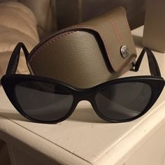 Authentic Morgenthal Fredrics sunglasses! Morgenthal Fredric Black with some brown through the sides women's Tilda style  sunglasses! Used with care, no scratches and comes with the original leather case! Morenthal fredrics  Accessories Sunglasses