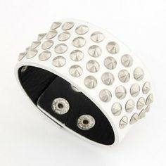 Punk Fashion Alloy Round Rivets Wide Leather Button Bracelets