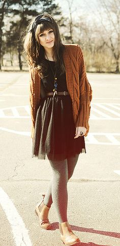 """""""Oh so girly!"""" By Maddy.C - Nadine - """"Oh so girly!"""" By Maddy.C """"Oh so girly!"""" By Maddy. Mode Outfits, Fall Outfits, Fashion Outfits, Womens Fashion, Fashion 2016, Grey Tights, Orange Tights, Mode Pop, Casual Dresses"""