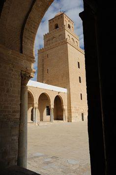 Tunisia-Kairouan-Zitouna Mosque-the Minaret viewed from inside the Mosque |