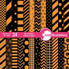 80%OFF Beautiful Mixed papers in Orange and black papers Halloween papers striped papers chevron papers mixed Digital paper AMB-534