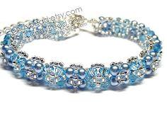 Fresh Aquamarine Swarovski Crystal Bracelet with by candybead, $15.00
