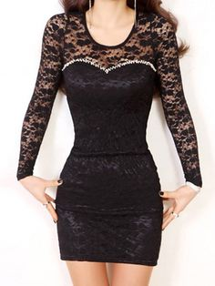 Sexy Scoop Neck Long Sleeve Lace Bodycon Dress For Women