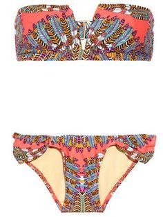 feather-print pattern bikini