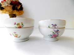 Vintage Large Cafe Au Lait Bowls With Spring Flowers - Four (4) Pieces by pentyofamelie on Gourmly