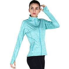 MotoRun Stretchy Women's Running Sports Jackets Full Zip Activewear Coat with Thumb Holes * Read more reviews of the product by visiting the link on the image. (This is an affiliate link) #JacketsCoats