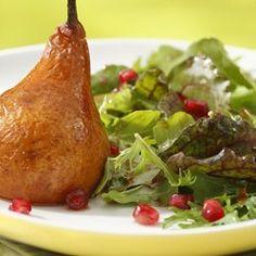 Roasted Pear & Arugula Salad with Pomegranate-Chipotle Vinaigrette - EatingWell.com