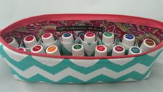 Fast seller! Teal chevron with pink paisley inside and coral zipper for young living essential oil travel case