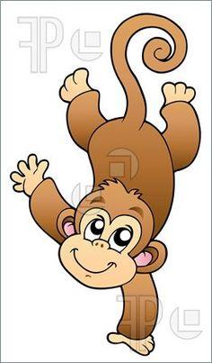 Cute Monkey Clip Art   Illustration Of Funny Cute Monkey. Vector Illustration To Download by ...
