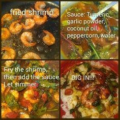 Shrimp Fried Shrimp, Garlic Powder, Coconut Oil, Fries, Vegetarian, Food, Broiled Shrimp, Essen, Yemek