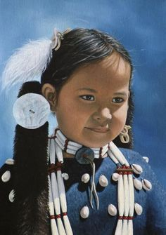 Hairpipes And Cowrey Shells by Cat Deuter kK Native Child, Native American Children, Native American Indians, Native Americans, Native American Dress, Native American Photos, Indian Artwork, Portrait Art, Portraits