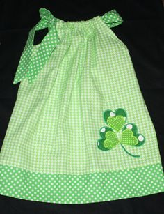 st patricks day dress,  pillowcase dress, shamrock dress, green tiny houndstooth, 12 month, 18 month, 24 month, 2t, 3t, 4t, 5