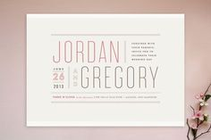 Modern Typography Wedding Invitations by Jennifer Wick Typography Wedding Invitations, Engagement Party Invitations, Modern Wedding Invitations, Wedding Stationary, Faire Part Invitation, Invitation Design, Invitation Cards, Invitation Ideas, Invitation Templates