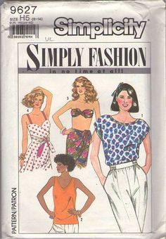 MOMSPatterns Vintage Sewing Patterns - Simplicity 9627 Vintage 90's Sewing Pattern HOT Simply Fashion In No Time At All Easy Summer Rockabilly 50s Style Wrap Around Top, Bandeau Bra, Blouse Size 6-14