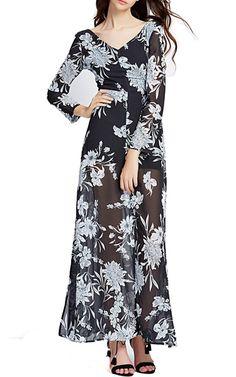 V Back Floral Maxi Dress by Richcoco via @bestmaxidress
