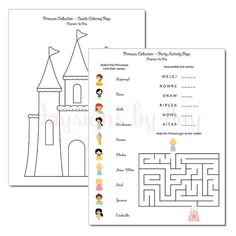 PRINTABLE Princess Party Activity Pages