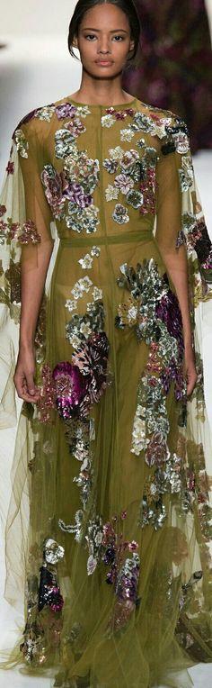 eec3b06c57d1 Valentino ~ Fall Olive Sheer Maxi Dress w Purple+White Floral Print 2014