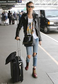 Rock chic: Behati Prinsloo flew out of Los Angeles, California, on Wednesday