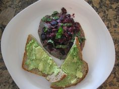 Very Berry Omelet with Avocado Toast from pg 101 in my newest book SASS Yourself Slim (the berries turn the omelet a very non-eggy color but it's a great combo, especially w/the fresh mint!). For a vegan version use organic tofu in place of egg.