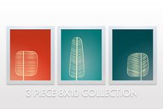 Mid Century Trees Artwork Set of 3  8x10 Art Print  by noodlehug, $45.00 red green teal home decor modern